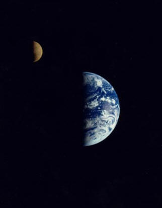 The Moon and the Earth as seen from space © NASA